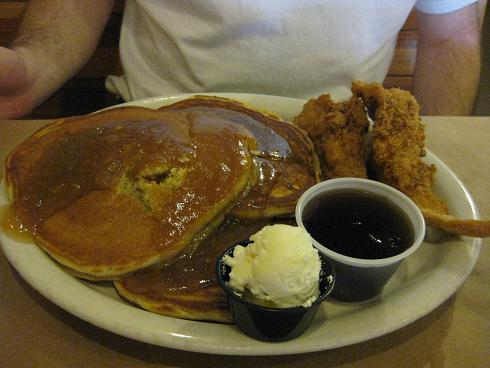 sweet potato pancakes and fried chicken