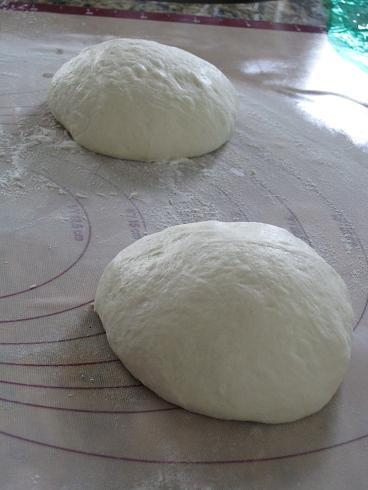 after kneading and rising, the dough was formed into rounds (proto-pizzas!)