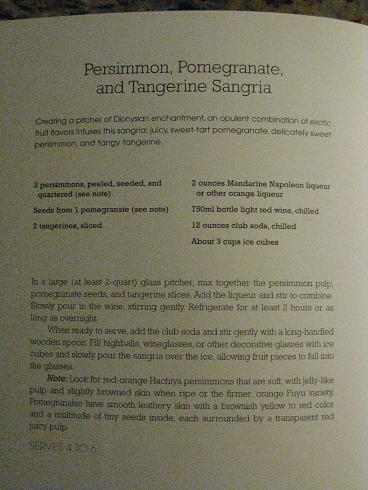 Persimmon, Pomegranite, Tangerine Sangria