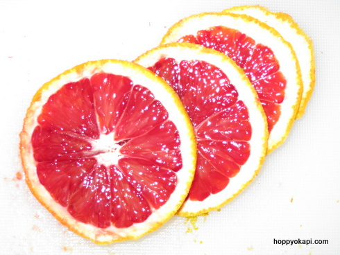 slices of blood oranges - oh so pretty!