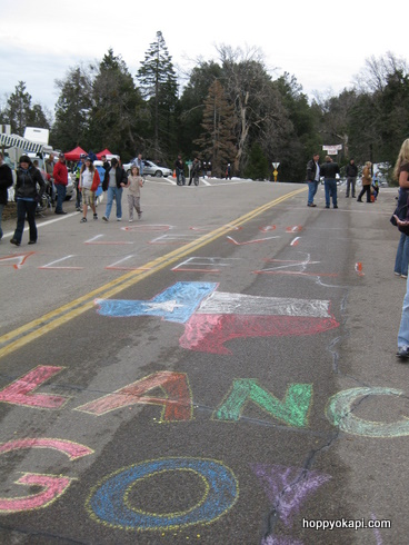 Chalk Art on the road to encourage the riders up the mountain