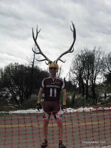 The Elk Man poses for us - I think he went to every stage of the race!
