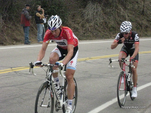 Jason McCartney in the King of the Mountain jersey tries to keep up with the leaders