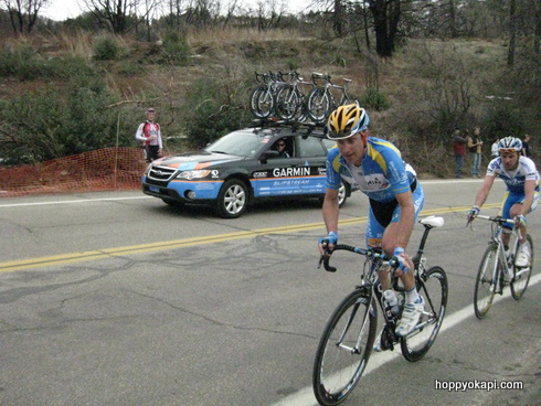 Christian Vandevelde of Garmin-Slipstream rides past
