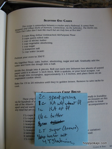 Recipe for Scottish Oat Cakes, with Spent Grain Markup