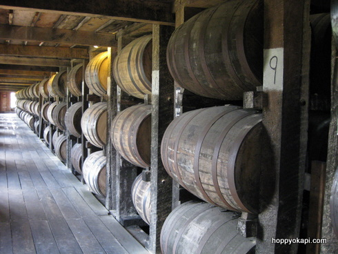 Barrels aging at Heaven Hill